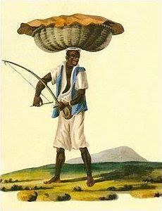Joaquim Cândido Guillobel - Negro vendedor ambulante tocando berimbau, 1814, aguada e aquarela sobre papel